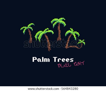 pixel art palm trees isolated