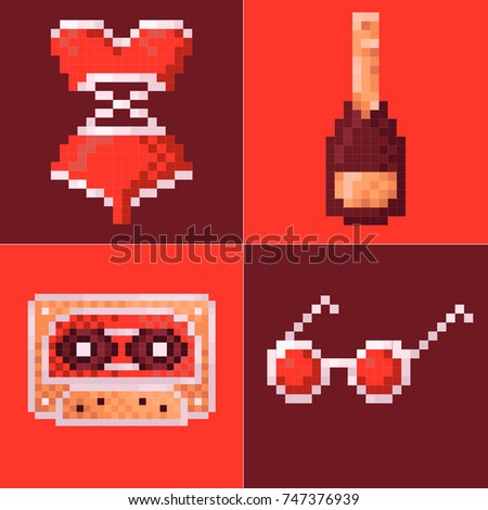 pixel art party set