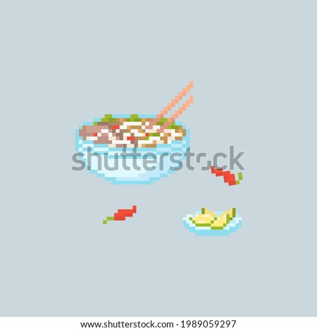 Pixel art pho bo illustration. Vector Retro 8 bit illustration of vietnamese pho bo bowl. Pixel asian food isolated spicy pho bo with chili and lime. Pixel vector pho bo icon for game, sticker, app. Stok fotoğraf ©