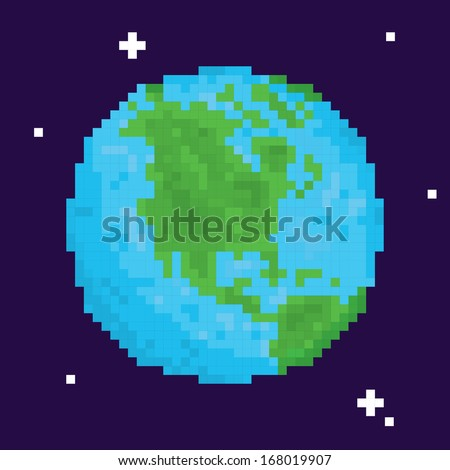 pixel art planet earth vector