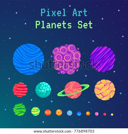 pixel art planets set  cartoon