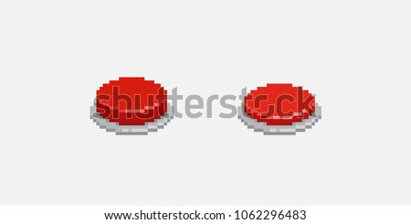 Pixel art red button, inactive and pushed animation