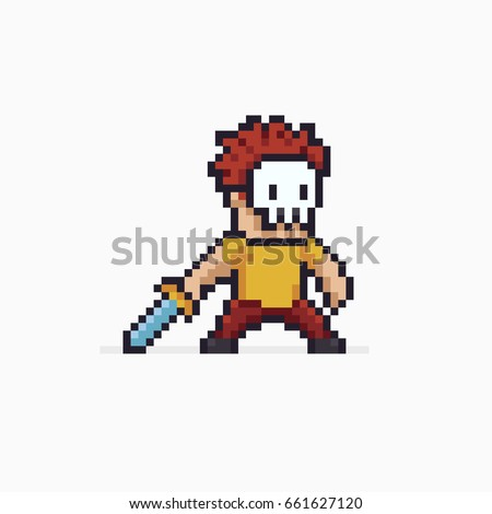 pixel art red haired warrior in