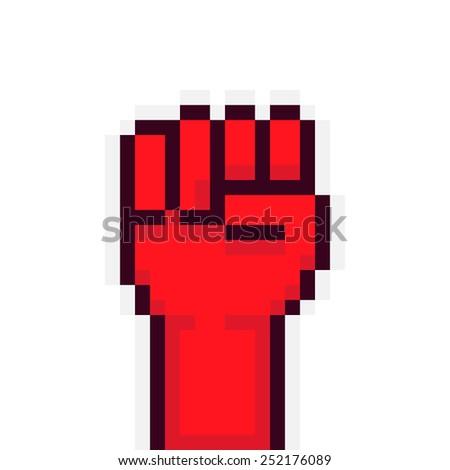 pixel art red rebel fist up