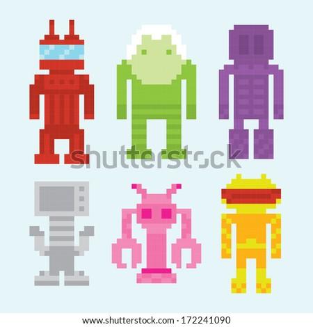 pixel art robots isolated