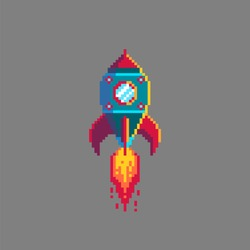 Pixel art rocket launch. Spaceship icon in retro style. Isolated vector illustration.