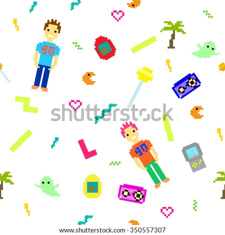Pixel art 90s retro style seamless pattern. Nineties nostalgic white background. 8 bit games inspired icons and people.