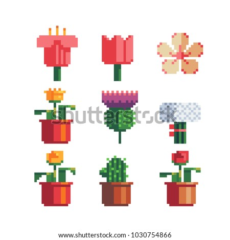 Pixel art 80s style beautiful flowers icons set. Indoor flower in a pot and a bouquet of flowers icon isolated vector illustration design for stickers, logo shop, embroidery, mobile app. 8-bit.