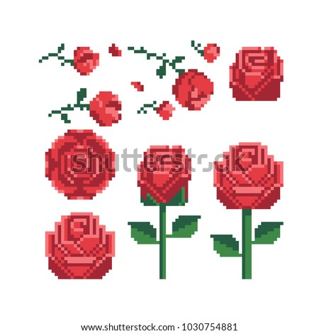 Pixel art 80s style beautiful flowers icons set red rose icon isolated vector illustration. Design for stickers, logo shop, embroidery, mobile app. 8-bit.