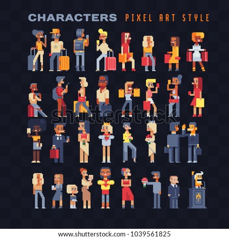 pixel art 80s style people