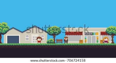 pixel art scene with house