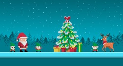 Pixel art scene with santa claus and gnomes around christmas tree. Vector illustration.