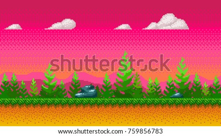 Pixel art seamless background. Location with forest at evening. Landscape for game or application.