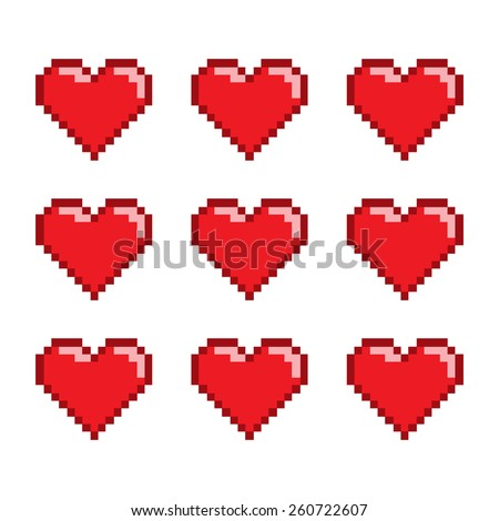pixel art set hearts