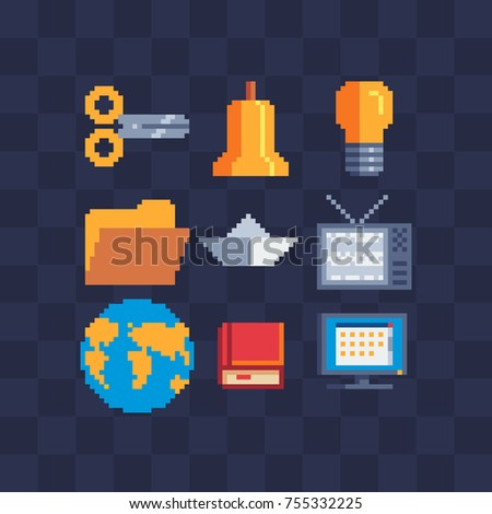 Pixel art set. Stationery and icons for websites. Sticker design pack. Isolated vector illustration. 8-bit sprite. Old school computer graphic style.