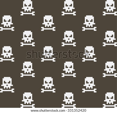 pixel art skull and bone