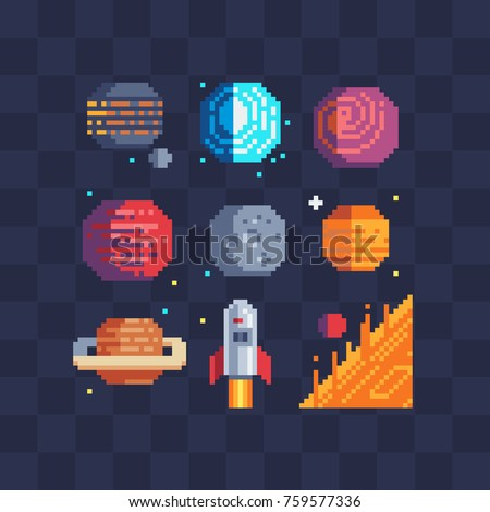 Pixel art space planets icons set. Sun, rocket, venus, saturn, mars into and moon. Isolated vector illustration. Pixel art style. 8-bit sprite. Old school computer graphic style.