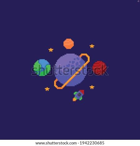 pixel art space scene with