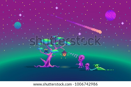 Pixel Art Story About Aliens And Magic Tree
