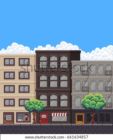 pixel art street with buildings