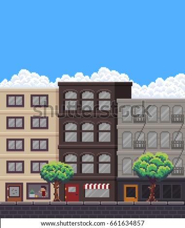pixel art street with buildings