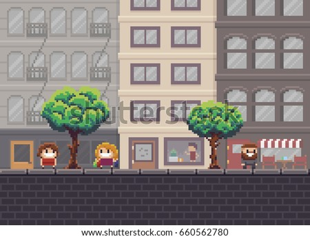 pixel art street with trees