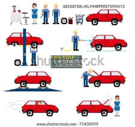 Pixel art style auto service vector illustration stock vector