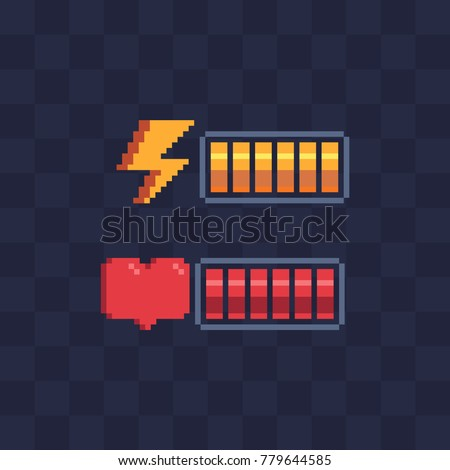 pixel art style battery charge