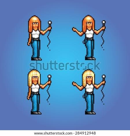 pixel art style girl rock star