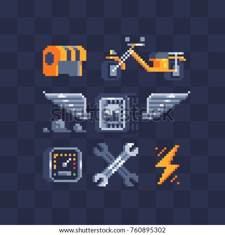 Pixel art style icons set. Speed, racer, wheel, speedometer, motorcycle, helmet and wrench. Stickers design. Isolated vector illustrator. 8-bit.