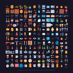 pixel art style icons set, various vector illustrations.