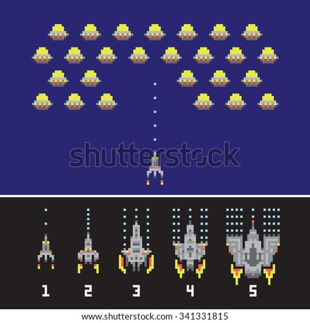 pixel art style space war and