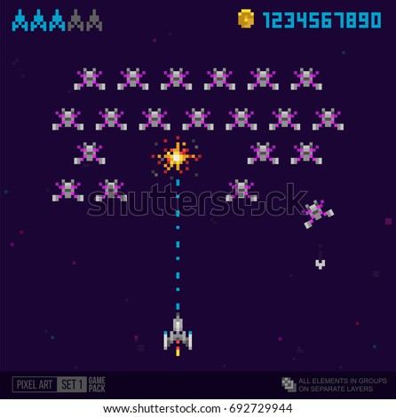 Pixel art style Ufo space war arcade game vector template. Pixel explosion and spaceship. Retro 8 bit game trendy 90s style