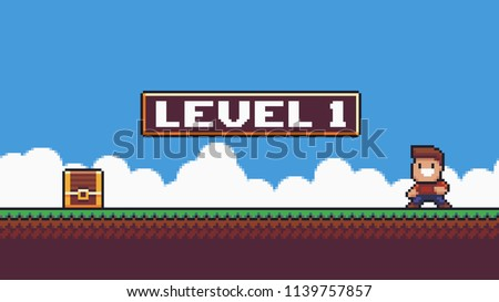 Pixel art summer scene, happy male character, treasire chest, grass, clouds, sky and sign with level 1 text