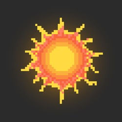 Pixel art sun icon design.