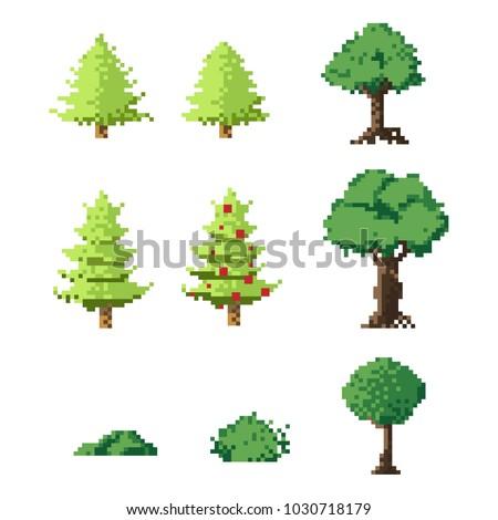 pixel art trees set8 bit art