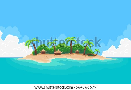 pixel art tropical island with