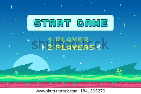 Pixel art UI design with outdoor landscape background. Colorful pixel arcade screen for game design. Banner with button Start Game . Game design concept in retro style. Vector illustration.