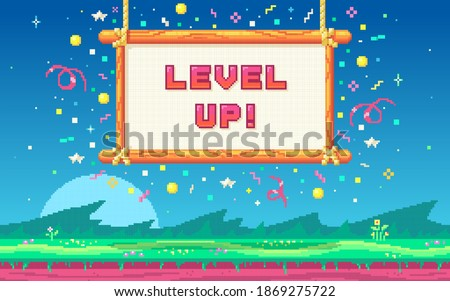 Pixel art UI design with outdoor landscape background. Colorful pixel arcade screen for game design. Banner with phrase Level Up . Game design concept in retro style. Vector illustration.
