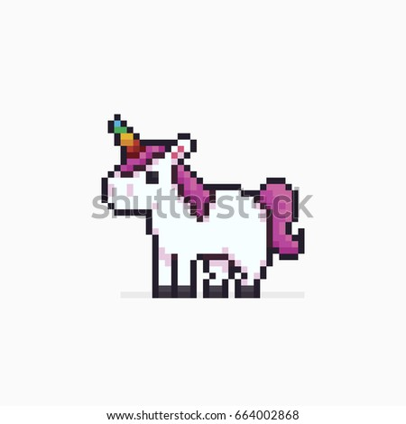 Pixel art unicorn isolated on white background