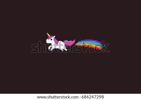 pixel art unicorn with rainbow