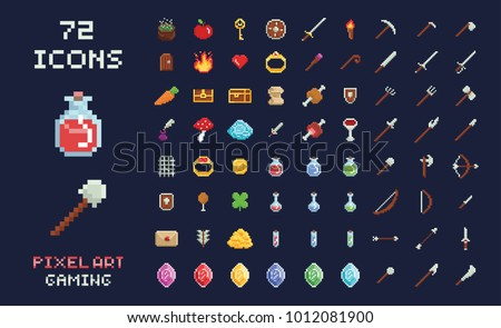 Pixel art vector game design icon video game interface set. Weapons, food, items, potion, magic isolated on black background