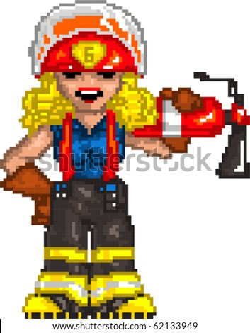 Pixel art Vector illustration of Firefighter. Artwork is composed of editable vector squares. Artwork is clearly and crisply readable in both large and tiny sizes.