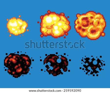 pixel art video game explosion