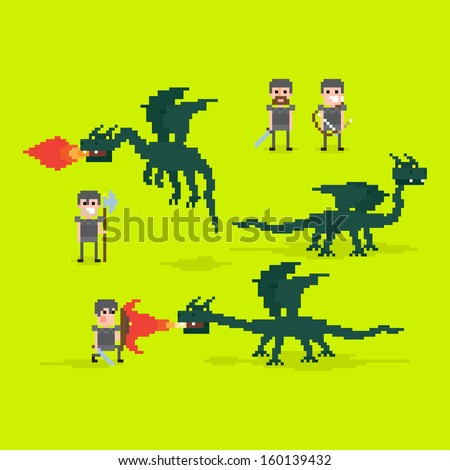 pixel art warriors and flying