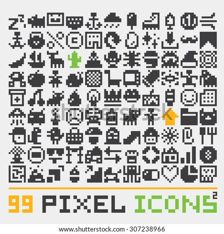 pixel art web icons vector set 2