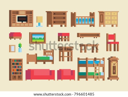 pixel art wooden furniture and