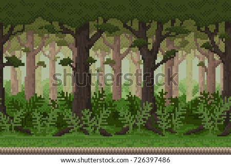 Pixel background with forest for games and mobile applications. Seamless when docking horizontally.