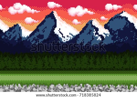 pixel background with mountains