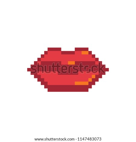 Pixel beautiful red glossy lips icon. Woman mouth. Isolated vector illustration.  Design for sticker, logo shop, mobile app. Game assets 8-bit sprite.